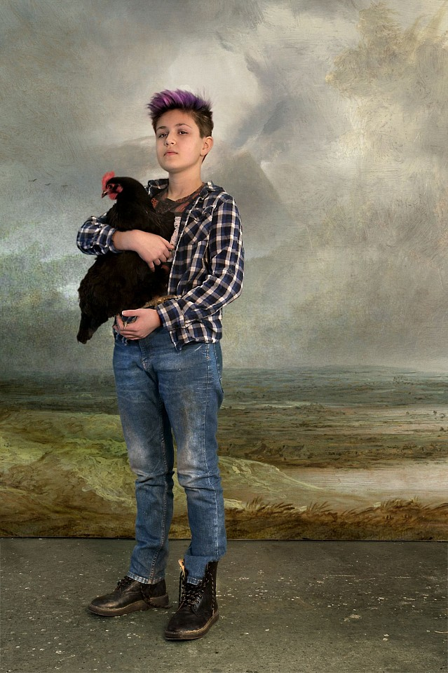 Oliver Wasow, Isa with Rooster 2016, Archival inkjet